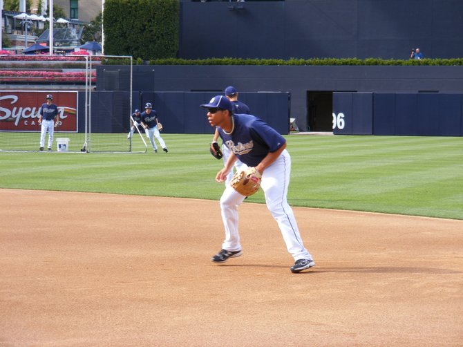 Kyle Blanks fields first base during batting practice