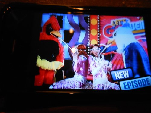 Ron as squirting bird on kids' show and...