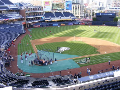 Padres taking batting practice during final game of last home stand