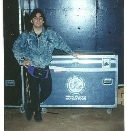 (Me backstage for Pink Floyd at Jack Murphy Stadium - mock if you must my fanny pack, stone-washed jean jacket, jogging pants, and mullet, but they had a killer catering tent and I was having the time of my life!)
