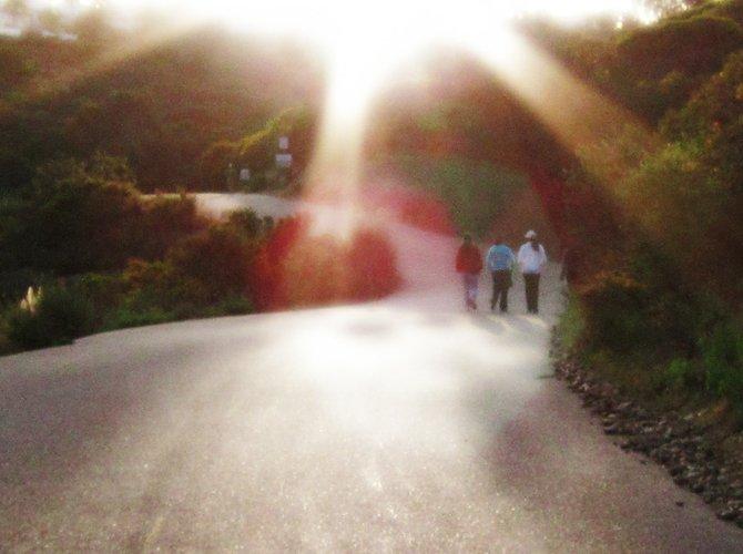 three friends stroll around Lake Miramar.