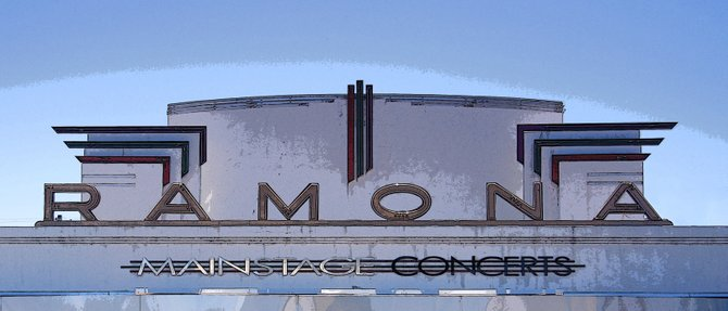 Sign above the Ramona Theater in Ramona, CA