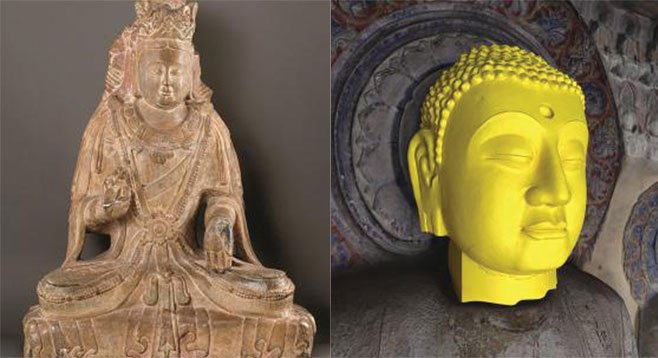 The stone stuff (left, Bodhisattva limestone ca. 550–577) makes up just a portion of the exhibit, the rest describes a project to recover and re-create the caves' original contents using 3-D imaging technology (right, Buddha head from digital cave).