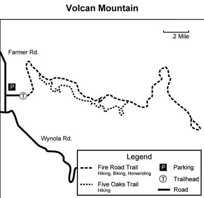 Map to Volcan Mountain Wilderness Preserve