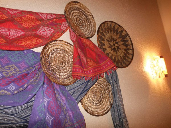 Woven art from Luzon, Philippines, adorns the walls.