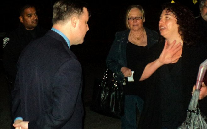 John McCann and Maty Adato (far right) converse after April 16 Sweetwater Union High School District board meeting.