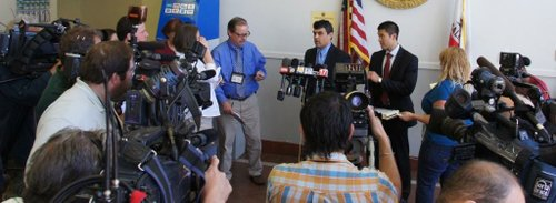 Prosecutor Pat Espinoza spoke to news media in courthouse.  Photo Bob Weatherston