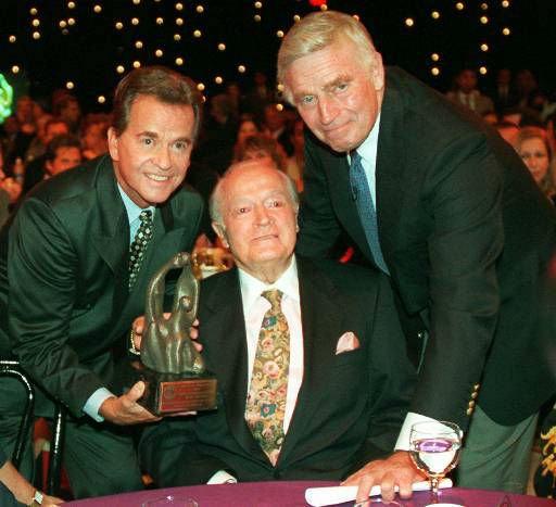 "With Bob Hope and Charlton Heston at the 1996 ""Family Film Awards."""