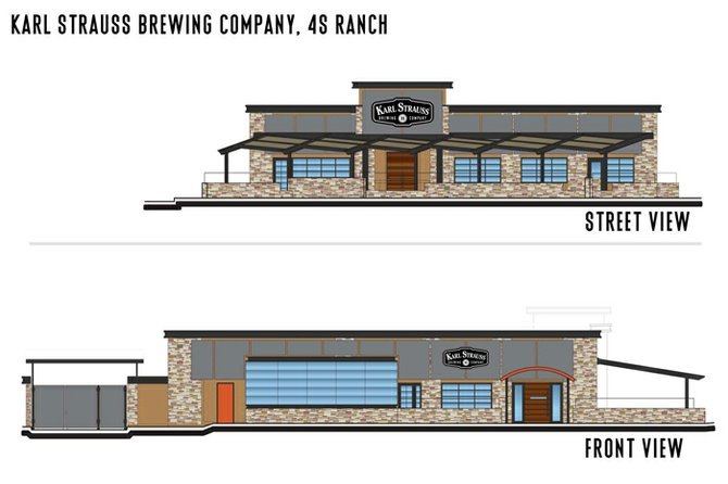 Renderings of Karl Strauss' upcoming 4S Ranch brewery restaurant, scheduled to open in July.