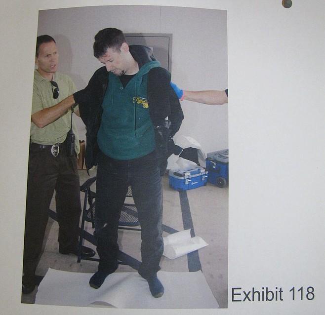 Evidence photo of Brendan O'Rourke's arrest.