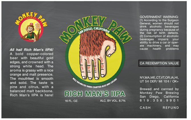 The can artwork for Monkey Paw Rich Man's IIPA