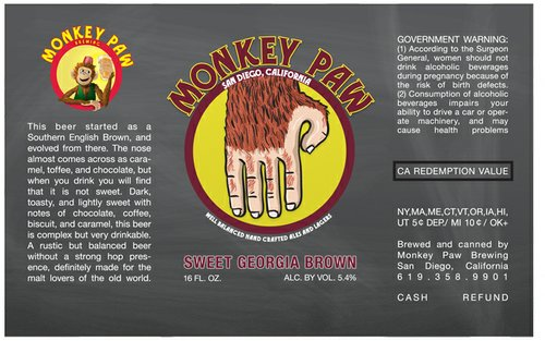The can artwork for Monkey Paw Sweet Georgia Brown