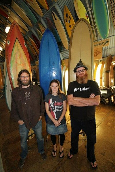 Ed Lewis, Petra Kavanagh & Pierce Kavanagh, creators of the San Diego Surf Film Festival. (Photo credit: Mark Bromley.)