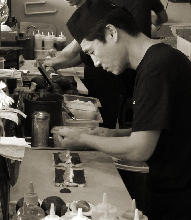 Sushi chef preparing my dinner at Todo's Sushi in Scripps Ranch