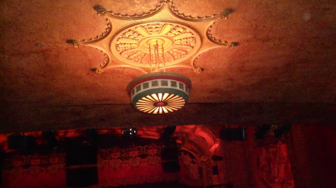 Beautiful detailed ceiling fixtures at Balboa Theater, downtown.