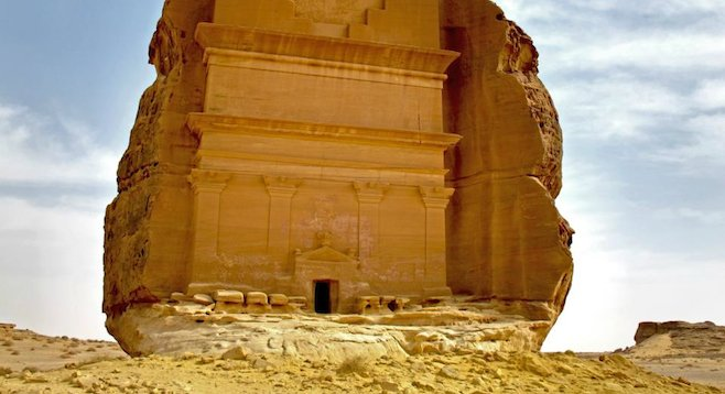 Ancient tomb exposed to the elements in Saudi Arabia's Mada'in Saleh.