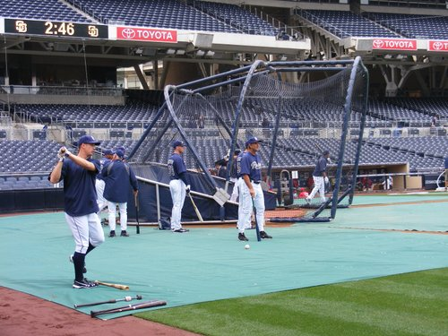 Padres take pregame batting practice