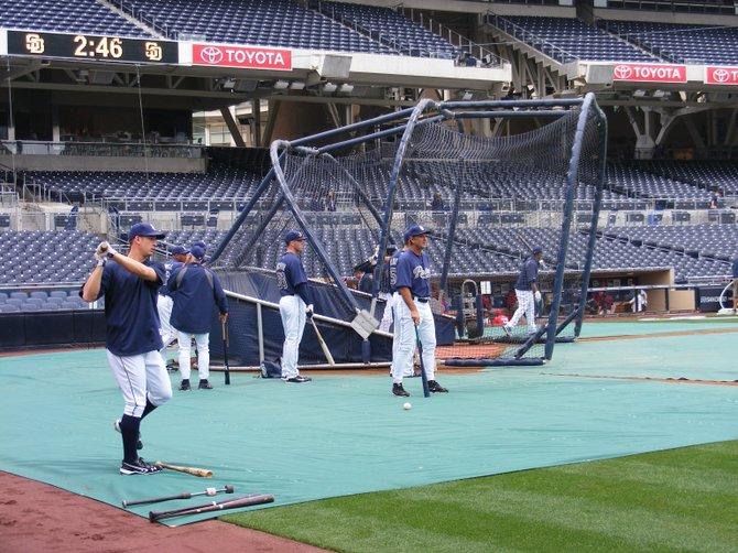 Padres take pregame batting practice