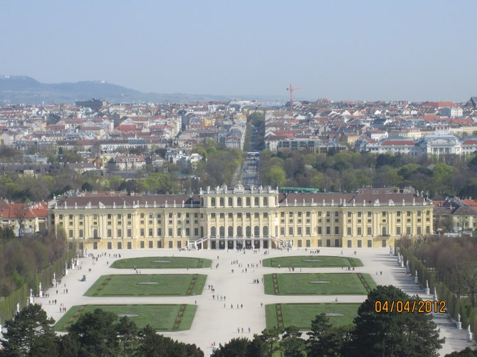 Schonbrunn Palace in Vienna, Austria.  It's amazing how big the palace ground is. (At this point, we were barely at the top of the hill of the 'backyard'.)