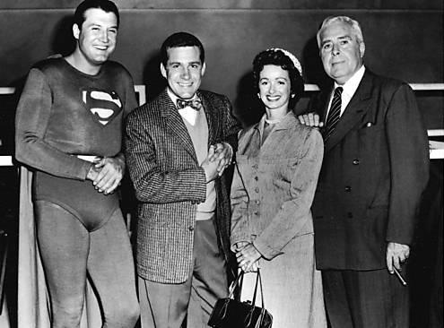 George Reeves, Jack Larson, Noel Neill, and Jack Larson.