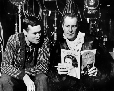 "Roger Corman and Vincent Price on the set of ""House of Usher."" The film screens for free at the San Diego Central Library Monday night at 6:30 pm."