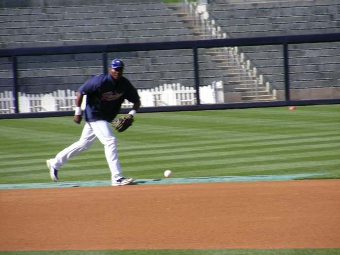Padres second baseman Orlando Hudson taking ground balls before Thursday's game against the Washington Nationals