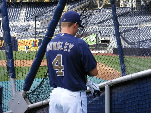 Padres catcher Nick Hundley during batting practice.