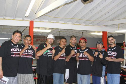 Mark Diaz, far left, at the boxing gym before things went bad.  Evidence photo.