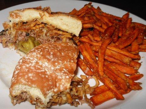 Sharon's burger and sweet potato fries