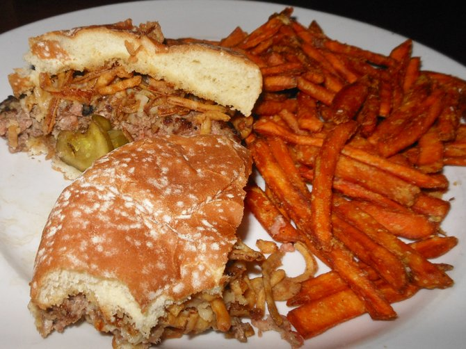 Sharon's burger and sweet potato fries