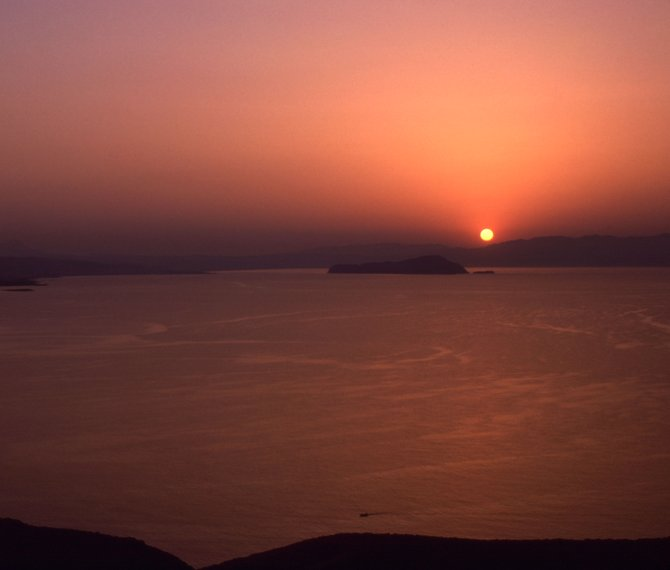 """""""Sandstorm Sunset"""" Crete, Greece  Taken from the Akrotiri peninsula near Chania, with Kri-Kri Island in the distance.   A scirocco wind from North Africa created this unusual sunset."""