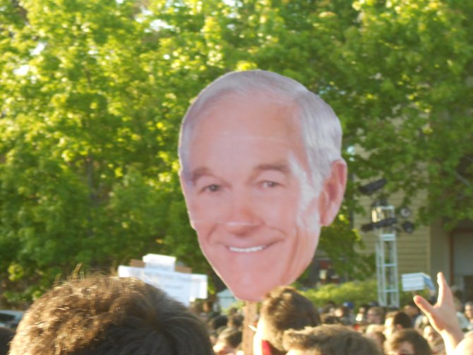 Ron Paul on a stick @ UCSD Town Hall meeting.