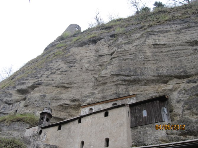 Chapel built into the side of the cliff.  (Photo taken in Salzburg, Austria.)