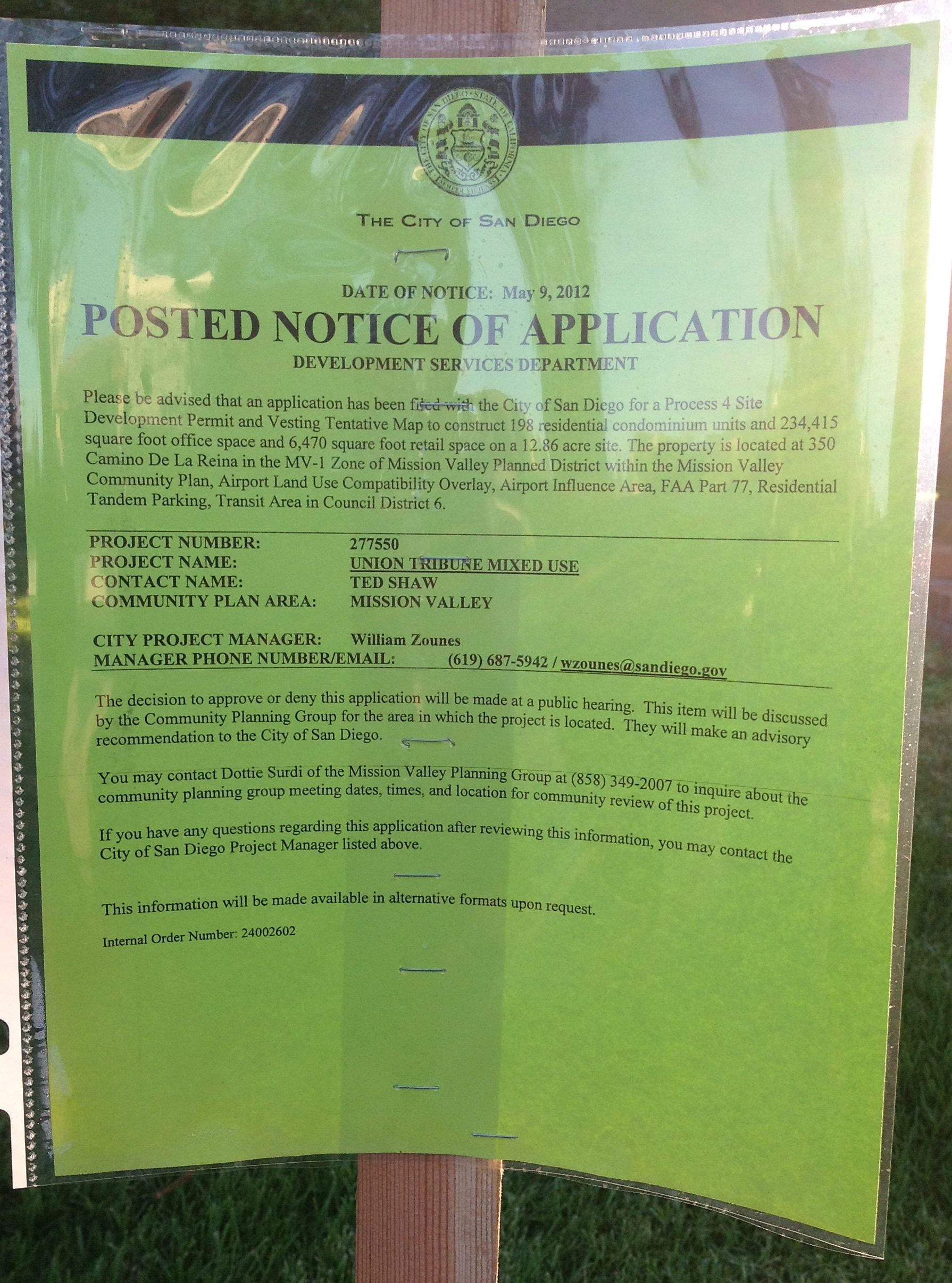 Notice posted on the front lawn of the Union-Tribune