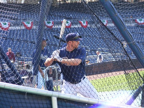 Chase Headley takes batting practice.