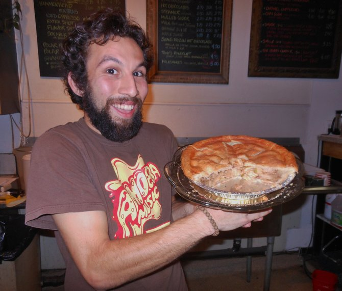 Patrick tempting me with apple pie