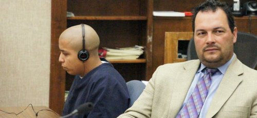 Hugo Garcia, left, with his public defender. Photo Bob Weatherston