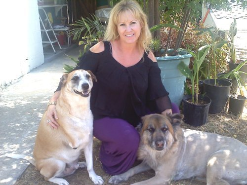 Trina Vukov and her rescued mutts.  Courtesy photo.