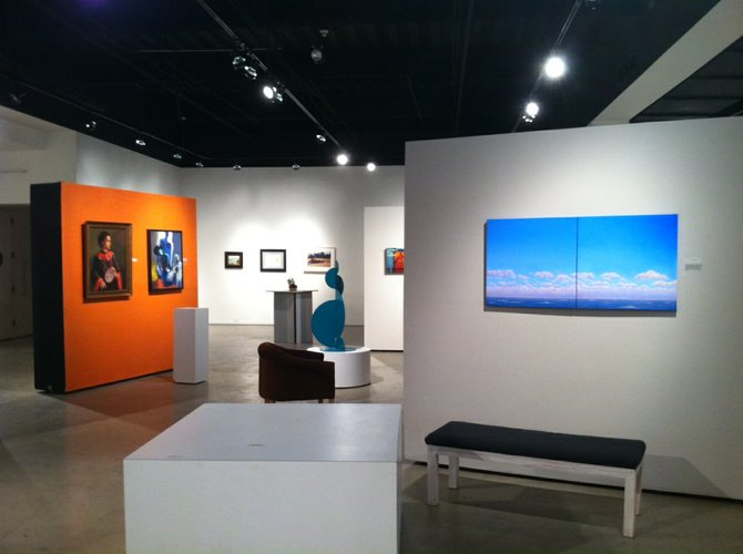 """The Eastern Girl"" by Yue Jiang; ""Illusion of Seduction"" by Qais Al-Sindy; ""Clouds 2 (diptych)"" by Thomas Tirado; ""Echo"" sculpture by Eric Oleander."