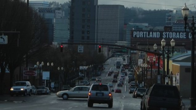 Cruising into downtown Portland