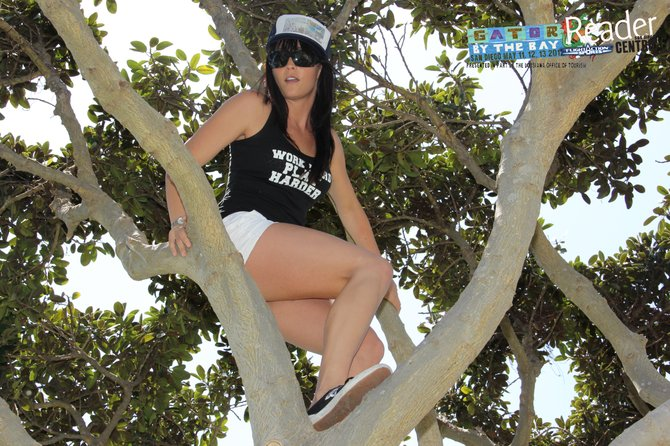 Street Team Allison in a tree.