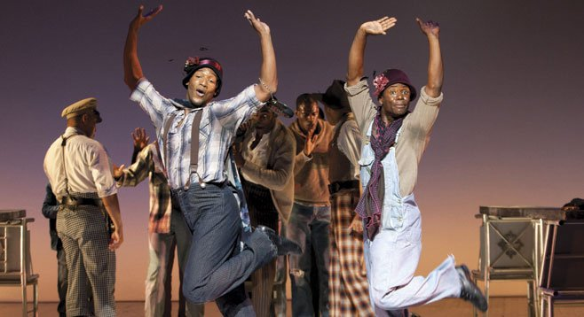 Clifton Oliver as Victoria Price and James T. Lane as Ruby Bates in The Scottsboro Boys