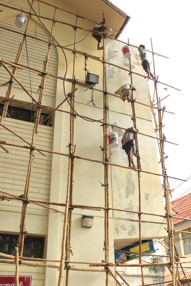 Bamboo scaffolding in Myanmar(Burma)