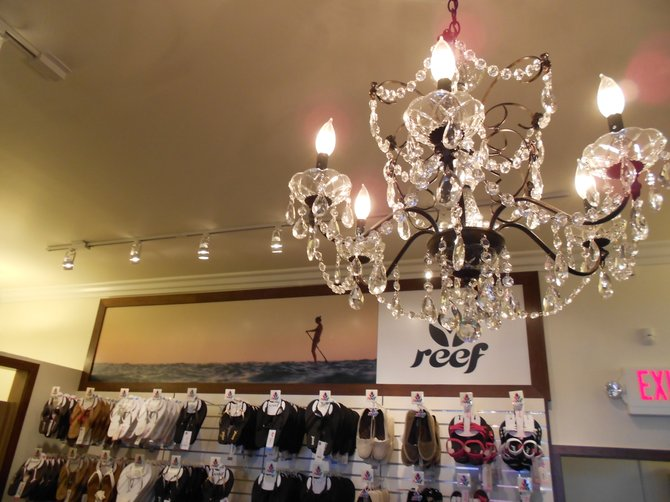 Lovely crystal chandelier at new South Coast Wahines store in Ocean Beach. Classy!