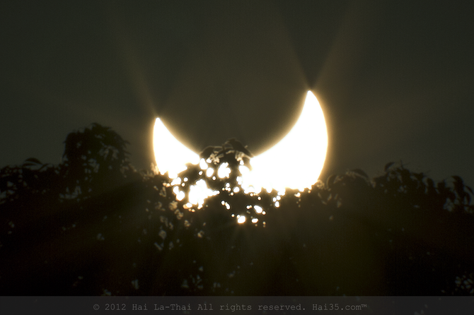 Eclipsed by its lunar neighbor, the sun descends upon the trees in Normal Heights.--San Diego, CA. May 20, 2012