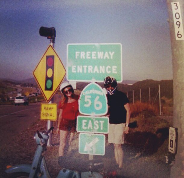 Scooter adventures along the 56 highway in San Diego. Traveling from Rancho Penasquitos to Torrey Pines! Taking film pictures along the way.   Picture taken with a Kodak Instant camera that was supposed to be developed in 2006.   B-)