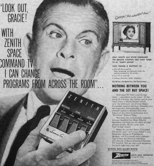 George Burns and Gracie Allen for the Zenith Space Command remote, 1957.