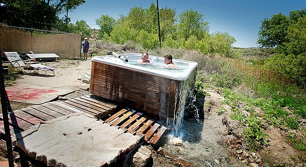 Visitors soak in Jacumba's public, hot-spring-fed tub.