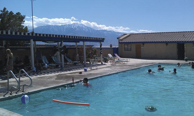 Relaxing at a nearby Hot Springs hotel between bands