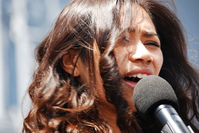 Jessica Sanchez the America Idol hopeful aboard the USS San Diego on 5/12/2012 taken by Mike Ramson of Hollywood Photo Booth Entertainment of San Diego